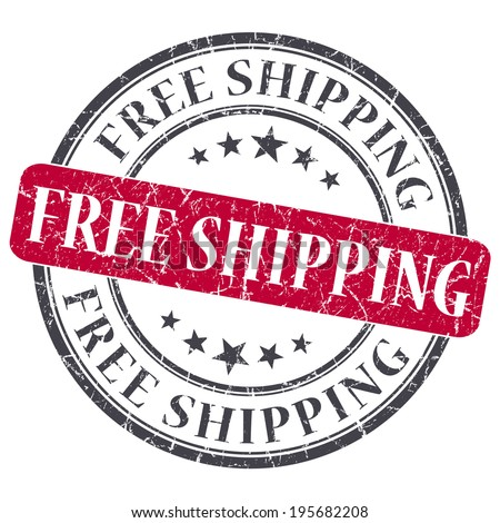 free shipping red round grungy stamp isolated on white background - stock photo