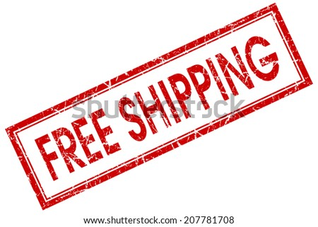 Free shipping red square grungy stamp isolated on white background - stock photo