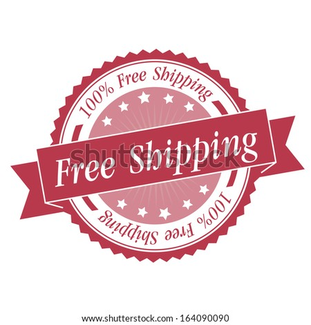 Free shipping stamp, sticker, tag, label, sign, icon with pink color.JPG - stock photo