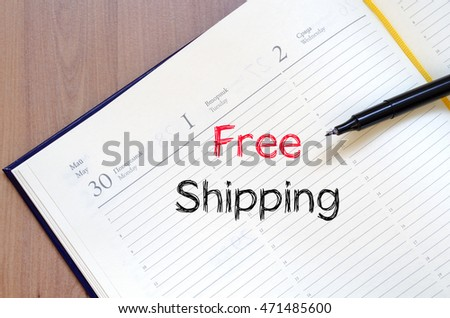 Free shipping text concept write on notebook