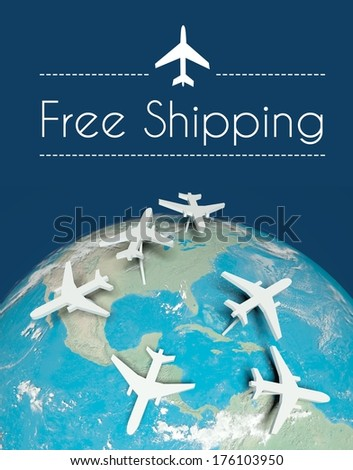 Free shipping transport concept, airplanes on globe - stock photo