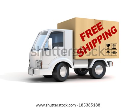 free shipping van loaded with cardboard box - stock photo