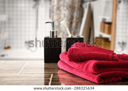 free space for you and decoration of red towels  - stock photo