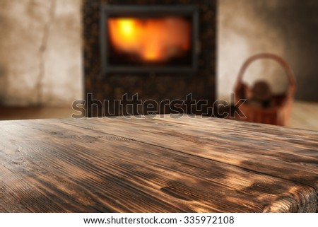 free space for you and wooden desk top place  - stock photo