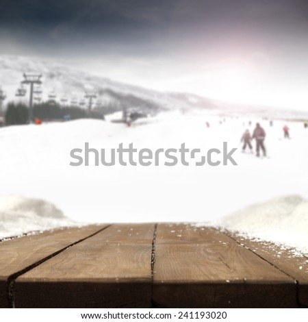 free space on table and skis background  - stock photo