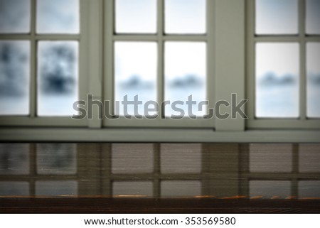 free space on window sill and dark glasses board place