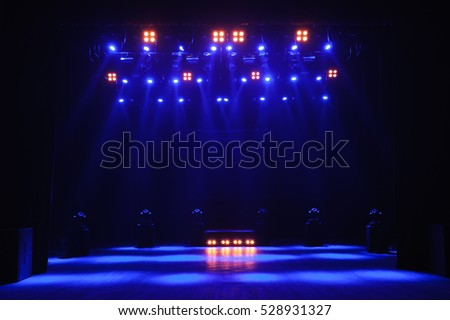 Free stage with lights, lighting devices.