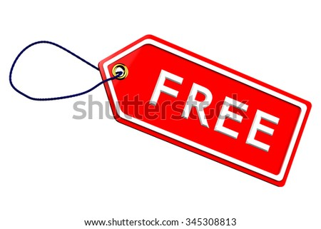 Free tag , isolated on white background.