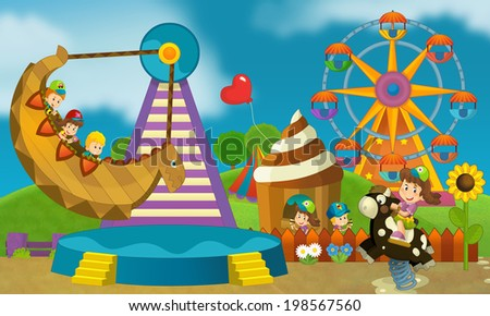 Free time - children at playground - illustration for the children - stock photo