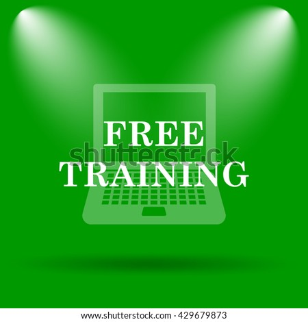 Free training icon. Internet button on green background.