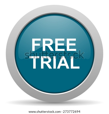 free trial blue glossy web icon