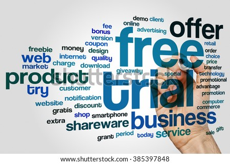 Free trial concept word cloud background - stock photo
