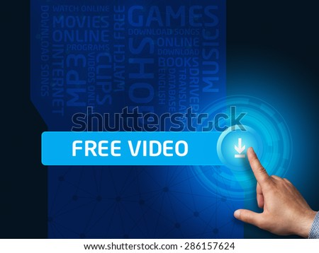 Free video.Businessman presses a button on the virtual screen. Business, technology, internet and networking concept.