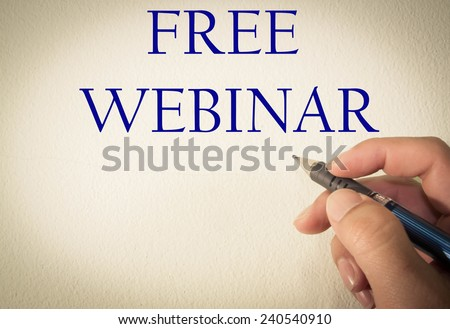 free webinar write on wall  - stock photo