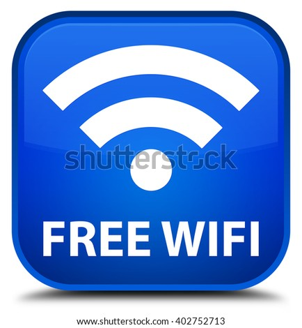 Free wifi blue square button