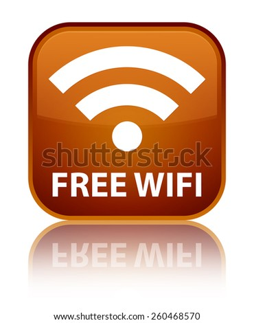 Free wifi brown square button