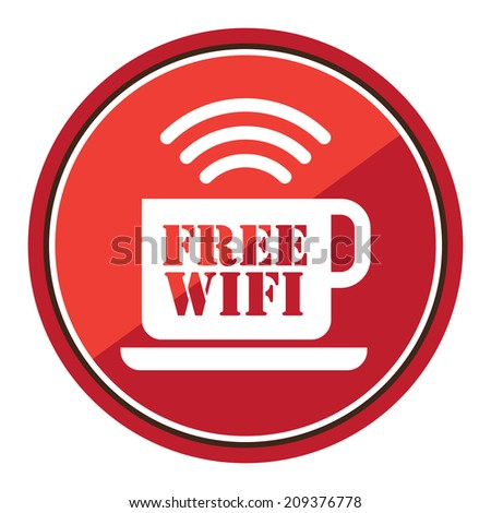 Free WIFI Cafe Sign on Red Circle Icon, Button, Label Isolated on White - stock photo