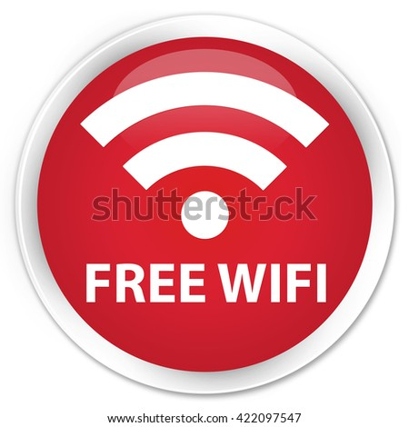 Free wifi red glossy round button