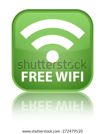 Free wifi soft green square button