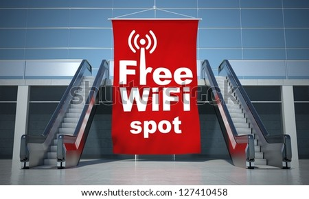 Free wifi spot advertising flag and modern moving escalator stairs - stock photo
