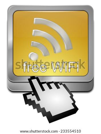 free wireless WiFi Wlan button with cursor - stock photo