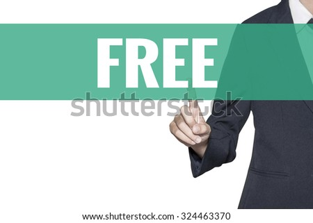 Free word on virtual screen touch by business woman on white background - stock photo