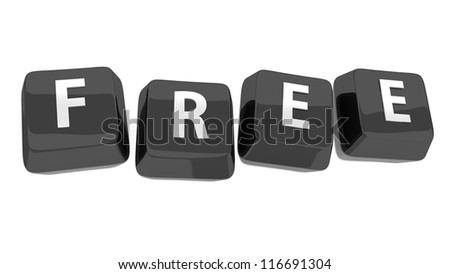 FREE written in white on black computer keys. 3d illustration. Isolated background. - stock photo