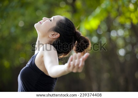 Freedom and happiness woman - stock photo