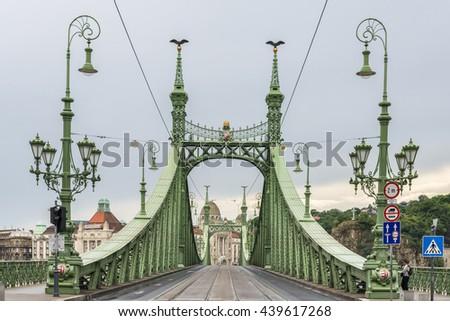 Freedom Bridge over the Danube in Budapest, Hungary - stock photo
