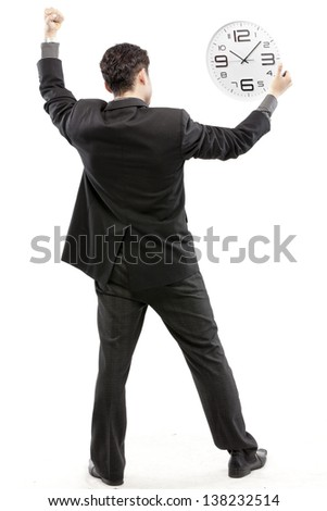 Freedom - Business man - arms outstretched - stock photo