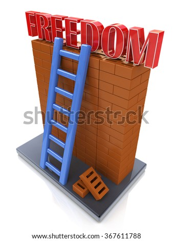Freedom concept. Ladder leading to a better place in the design of information related to the desire for freedom - stock photo