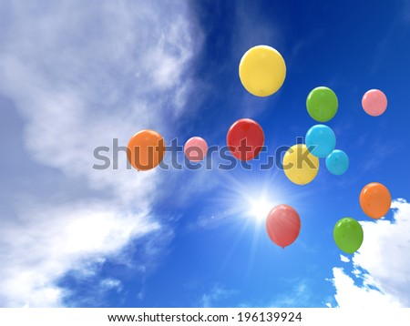 freedom concept of balloons are flying to the sky