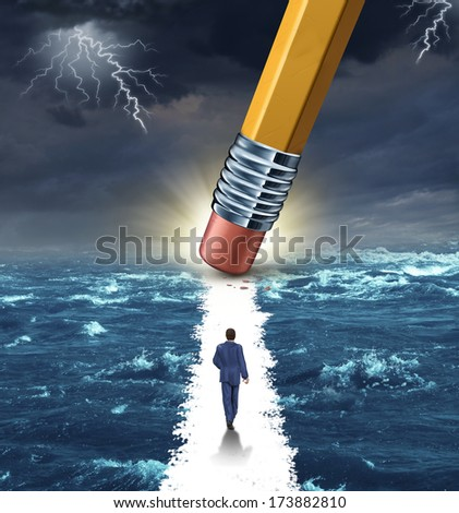 Freedom concept with a lightning storm at sea and a pencil erasing a clear path for a businessman to walk to his success goal as a metaphor for bridge building solutions and overcoming adversity. - stock photo