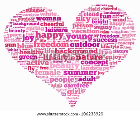 Freedom info-text graphics and arrangement concept on love shape with white background (word clouds) - stock photo