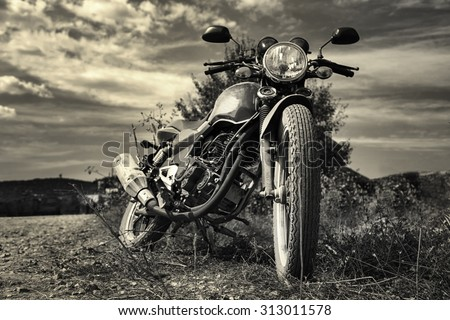 Freedom.Motorbike under sky - stock photo