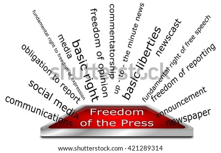 Freedom of the Press wordcloud - stock photo