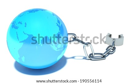 Freedom. Shackles and globe - stock photo