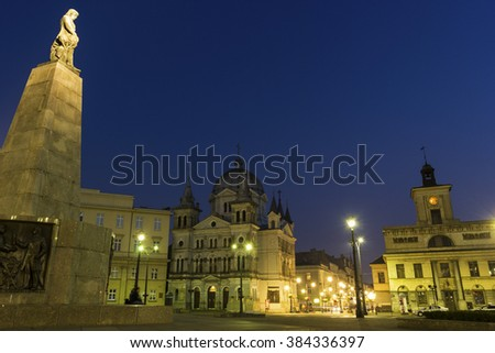 Freedom Square in Lodz in Poland in the evening