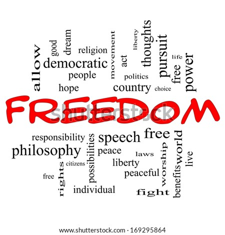 Freedom Word Cloud Concept in red caps with great terms such as free, life, hope, peaceful and more.
