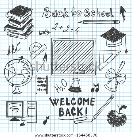freehand drawing back to school in a notebook raster image - stock photo