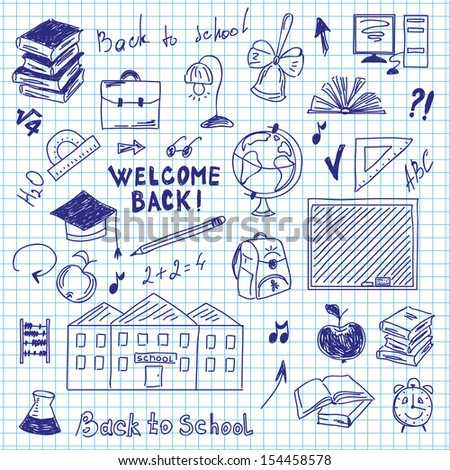 freehand drawing of school supplies in notebook raster image - stock photo