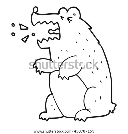 freehand drawn black and white cartoon bear