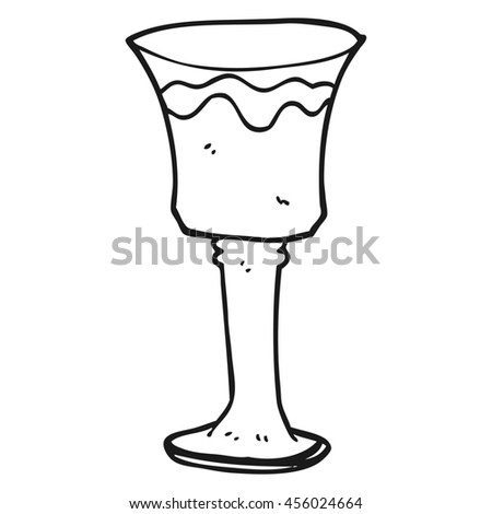 freehand drawn black and white cartoon goblet of wine - stock photo