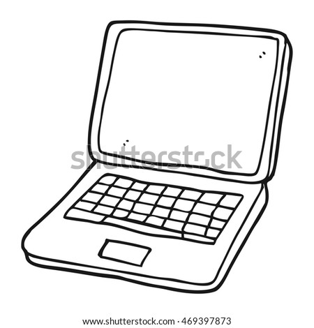 freehand drawn black white cartoon laptop stock