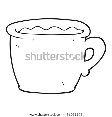 freehand drawn black and white cartoon old coffee cup