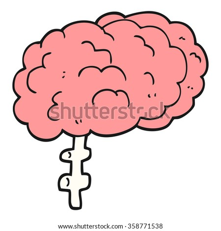 freehand drawn cartoon brain - stock photo