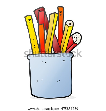 freehand drawn cartoon desk pot of pencils and pens