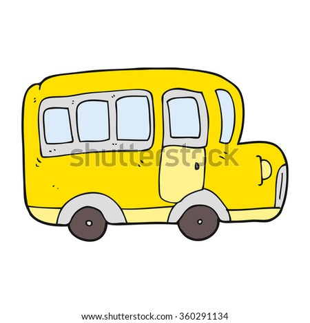 freehand drawn cartoon yellow school bus