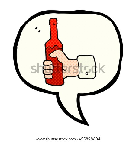 freehand drawn comic book speech bubble cartoon hand holding bottle of wine - stock photo
