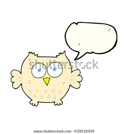 freehand drawn comic book speech bubble cartoon happy owl